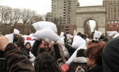 Pillow fight at Washington Square