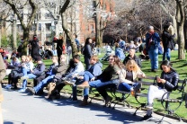 Relaxing on the lawn at Washington Sq