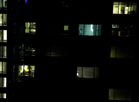 Families gather in their separate apartments