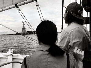 Statue of Liberty framed by our rigging.