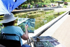 Artist at the Brooklyn Botanical Gardens Lilly Ponds