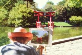 Artist at the Japanese Garden - Brooklyn Botanical Gardens